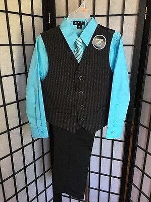 George Boy's Black & Turquoise 4 Piece Vest Tie Dress Suit Set Outfit NWT