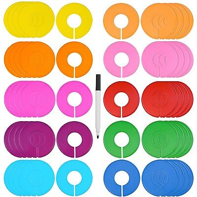 Blulu 50 Pieces Colored Blank Closet Size Dividers Round Clothing Rack Divide...