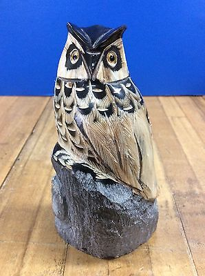 Vintage OWL figure carved out of horn bone Hand Carved w/ Glass Eyes