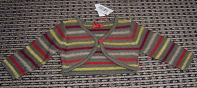 Elle French Designer  Girls Striped Bolero Cardigan Sz 6 Months New With Tags