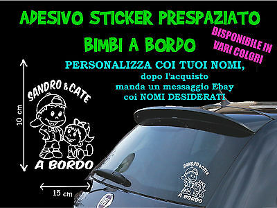 Sticker Stickers Adesivi Adesivo Bimbi Bimbo Coppia Fratelli A Bordo On Board 4V