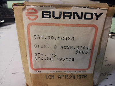 Burndy Ycs24  Crimp Butt Splice Conn New In Box #2 Acsr #b46