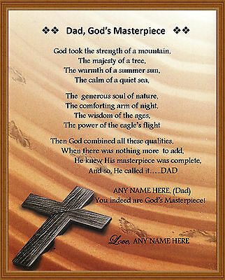 personalized dad poem dad gods masterpiece gift for fathers day birthday