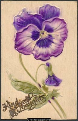 "Embossed pansies and ""kindest thoughts"""