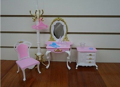Barbie Size Dollhouse Furniture- Gloria Pretty Set with Mirror Table and Pole