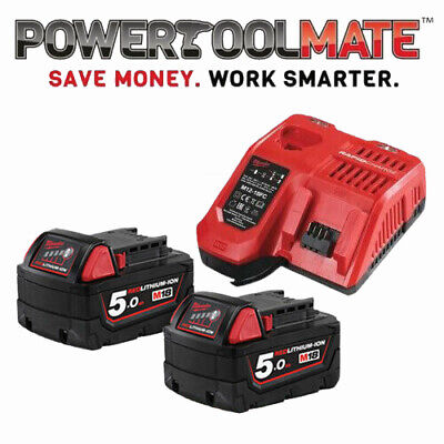 Milwaukee M18NRG-502 18V Energy Pack 2 x M18B5 5.0Ah Battery & M12-18FC Charger