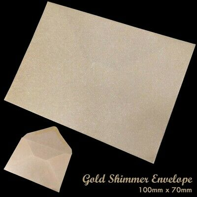 Small Gold Shine Envelopes 100 x 70mm For Dinner Money Wages Coin Beads & Seeds