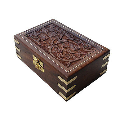 Hand Carving Brass Engraved Rectangular Indian Wooden Gift Box