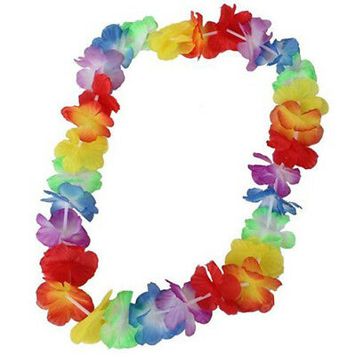 10pcs Colorful Flower Leis Garland Necklace Fancy Dress Party Hawaii Beach