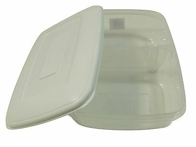 3 X Large Twin Food Storage Plastic Tubs Pots Lunch Box 2.5 Lt Each Made In Uk