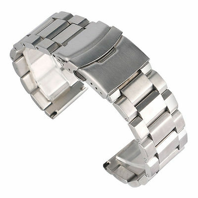 Stainless Steel Watch Bracelet Strap Double Lock Solid Band Mens 18 20 22 24 mm