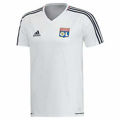 adidas Childrens Football Official Olympique Lyon Training Shirt Jersey - White
