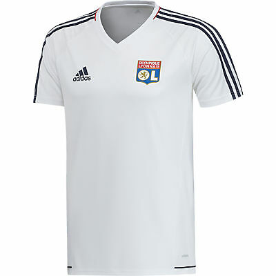 adidas Mens Gents Football Official Olympique Lyon Training Shirt Jersey - White