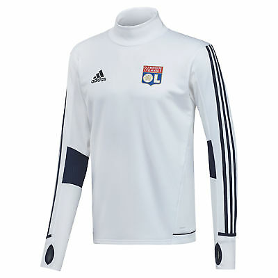 adidas Mens Gents Football Official Olympique Lyon Training Top - White