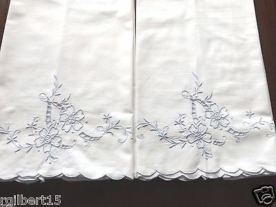 """Vintage Pair Pillowcases Blue Flowers Embroidered Cut Work White Cotton 30x19"""""""