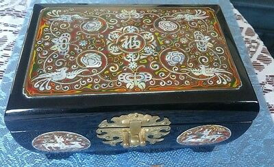 xcellent Oriental Mother of Pearl Birds and Goats Design Lacquered Wooden Box