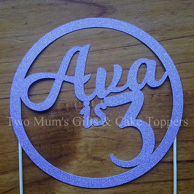 Personalised Custom Birthday Cake Topper - Name and Age in Ring Circle Topper