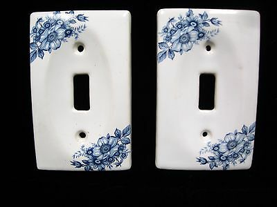 Vintage Light Switch Wall Plate Cover Set Of Two Blue Floral Design