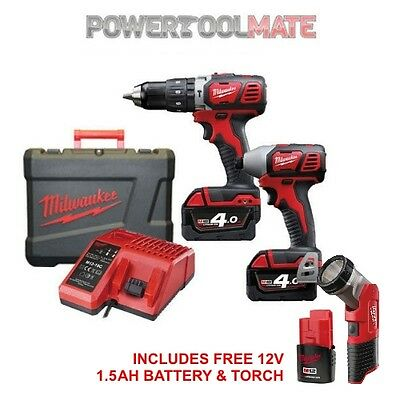 Milwaukee M18BPP2C-402C Compact Combi & Impact Kit with Torch and Batteries