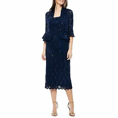 RM Richards Women's Sequin Lace Midi Dress With Jacket - Mother of The Bride Wed