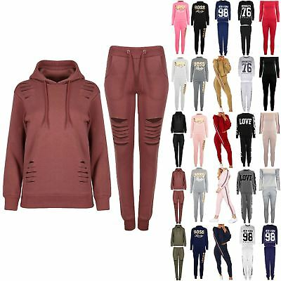 New Womens Ladies Knee Laser Cut Out Joggers Long Sleeve Hooded Hoodie Tracksuit