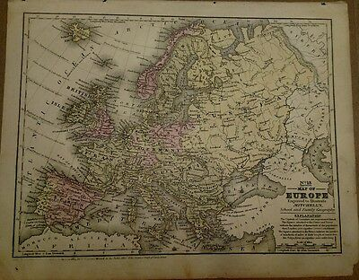 Antique Original 1849 Map of Europe by S. Augustus Mitchell