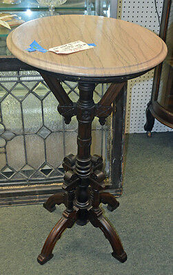 RARE ANTIQUE CARVED VICTORIAN Walnut Marble Top PEDESTAL/FERN STAND Circa 1890's
