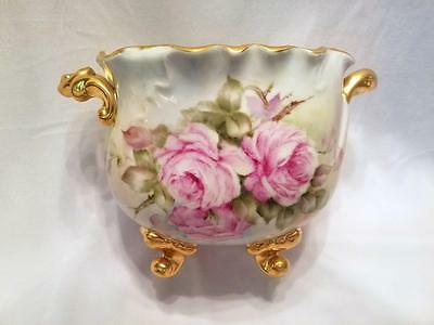 Vintage Porcelain Footed Vase Bowl with Handles Hand Painted Roses and Gold Trim