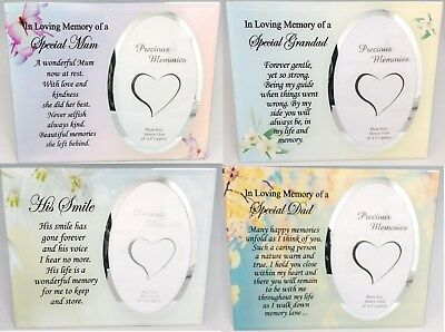 HIS HER SMILE MUM DAD Memorial Photo Frame Sentimental Verse Glass Remembrance