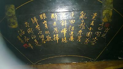 Chinese Lacquered Trunk Hand Painted Vintage Chest