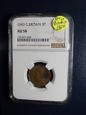 1950 Great Britain Three Pence NGC AU58 3P Coin BUY IT NOW!