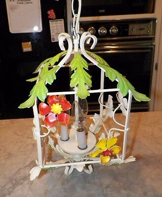 Vintage Italian Tole Square Hanging Light Fixture Floral Made In Italy