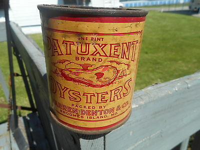 Vintage Small Patuxent Oyster Can Tin Broomes Island MD. Warren Denton & Co.