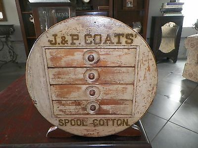 Vintage Rare J & P Coates Spool Cabinet Storage Box Spool Shape 4 Drawer