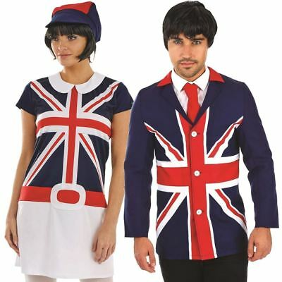 60s Adult Mens Ladies Couple MOD Fancy Dress Costume British Flag Union Jack New