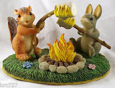 Charming Tails Figurine Toasting Marshmellows