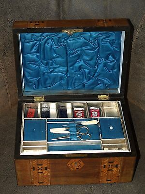 Antique Tunbridge Ware Sewing Box with Key Locks Tools