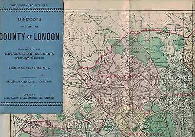 "Bacon's Map COUNTY OF LONDON MUNICIPAL BOROUGHS  index app 23"" X 33"" cloth vgc"