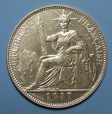 1937 French Indo-China 20 Cent. Silver #CN841