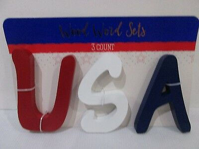 Patriotic 4th of July USA Red White Blue Wood Blocks Decor Decorations