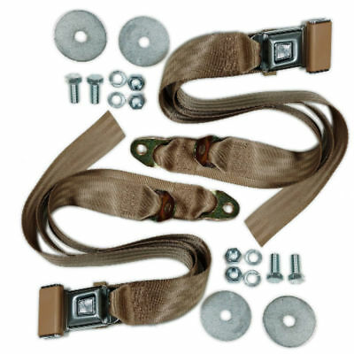 (2) VW Bug Ghia Type 3 Buggy 2-Point Lap Belt TAN Seat Belts, Pair EMPI  18-1022