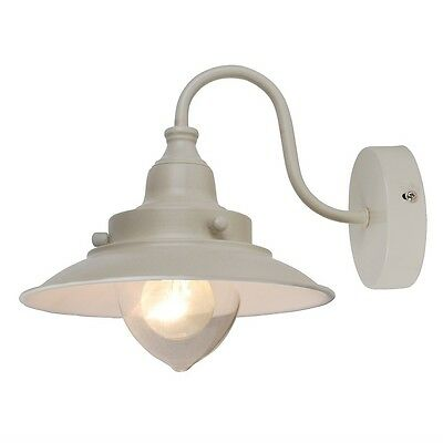 Vintage Style Cream Metal Fishermans Design Wall Light Lamp with Glass Shade NEW