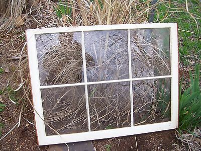 """Old Window Sash 6 Pane for Wedding or Picture Frame 36"""" x 27"""" Glass 10"""" x11 1/2"""