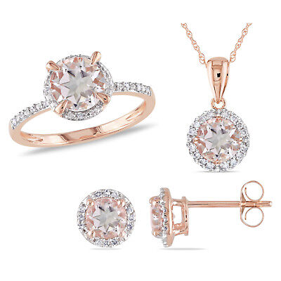 Amour 10k Rose Gold Morganite and Diamond Halo Ring Earrings and Necklace Set