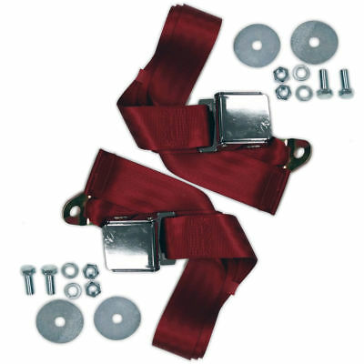 "(2) 72"" RED Universal Lap Seat Belt w/ Hardware, Pair Chrome Latch Hot Rod"