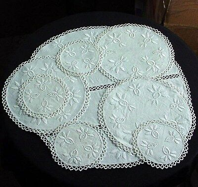 Old Vintage Set 8 Hand Tatted Tatting Lace & Embroidered Doilies Off White Linen