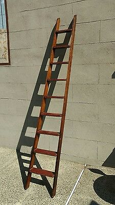 Antique Oak and Leather Library Ladder Steps