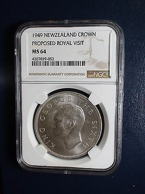 1949 NEW ZEALAND CROWN NGC MS64 ROYAL VISIT 1CR Coin BUY IT NOW!