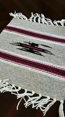 Chimayo 100 % Wool Textile Mat  10 x 10 Taupe & Black Weaving Made in New Mexico
