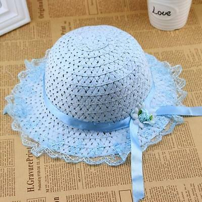 Hot Kids Baby Girls Sun Visor Hat Lace Hat Summer Beach Holiday Cap Blue Color